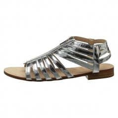 Women's Silver Leather Flat Sandal Shoes