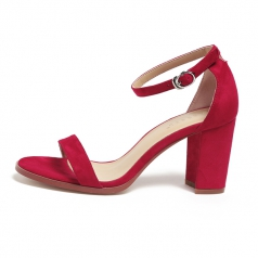 Womens One Strappy Red Chunky Block High Heel Shoes Manufacturer in China
