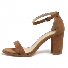 Womens One Strappy Tan Chunky Block High Heel Shoes Manufacturer in China