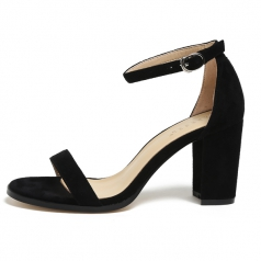 Womens One Strappy Black Chunky Block High Heel Shoes Manufacturer in China