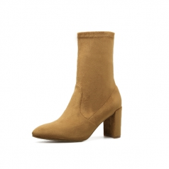 Womens Brown Stretch Suede High Heel Ankle Boots