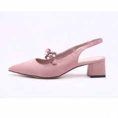 Women's Pointed Toe Pink Suede Chunky Block Heel Sandals Shoes