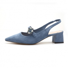 Women's Blue Pointed Toe Suede Chunky Block Heel Sandal Shoes
