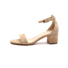 Womens One Strappy Natural Chunky Block Heel Sandal Shoes Manufacturer in China