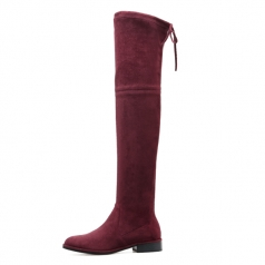 Women's Fashion Burgundy Stretch Micro Flast Long Boots